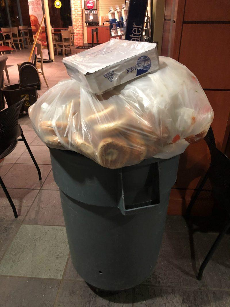 According to an Einstein's Bros. bagels employee, require employees to throw out their bagels after four hours due to them becoming stale. Although there is much food waster on campus, dining services is trying to become more sustainable. photo by Jordan Bruce, webmaster