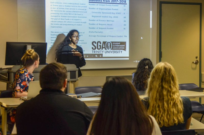 Rachel Daniel, senior and vice president of SGA, presents on the statistics from 2017 to 2018. SGA meetings cover everything from funding allocation to addressing student concerns and are held every Wednesday at 6 p.m. in the Waxahachie Room. Photo credit: Genevieve Humphreys