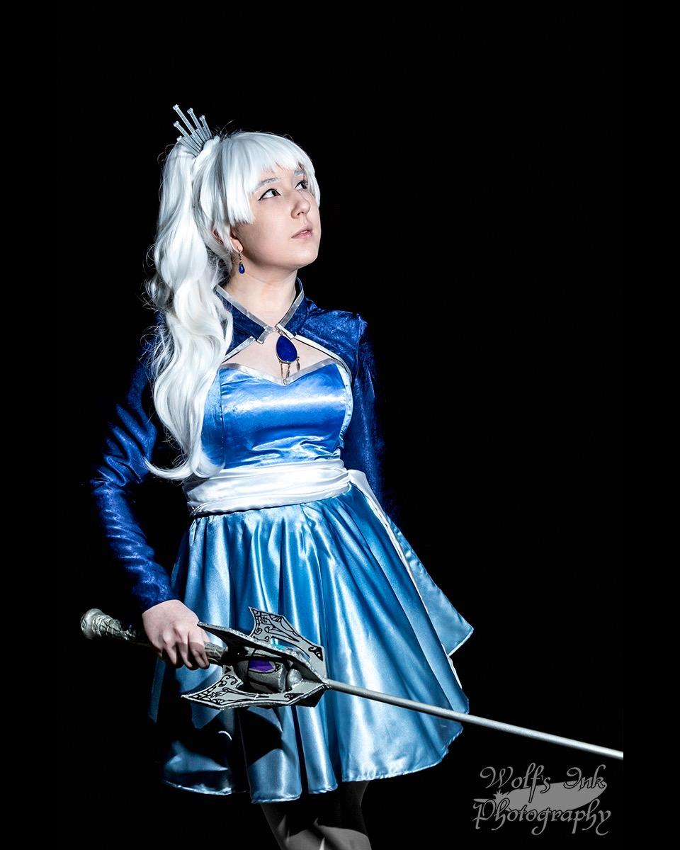 Parris cosplaying one of her favorite characters, Weiss Schnee from the anime RWBY, at Ikkicon 2018 in Austin