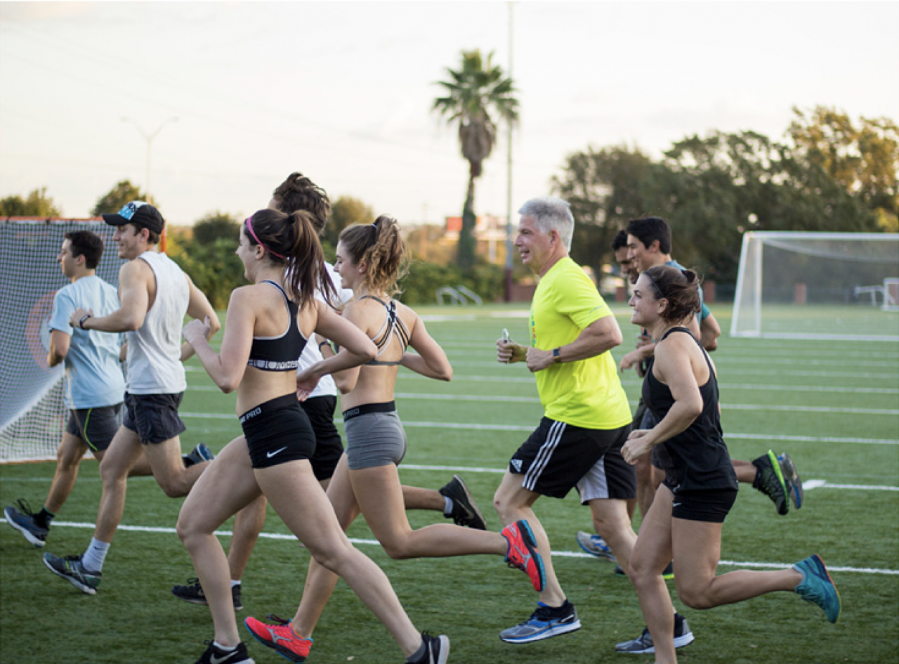 David Tuttle, vice president of Student Life and Dean of Students, trains alongside members of the 2017 Half-Marathon Challenge. Started in 2008, the challenge is in conjunction with the Kayla Mire Food Drive.
