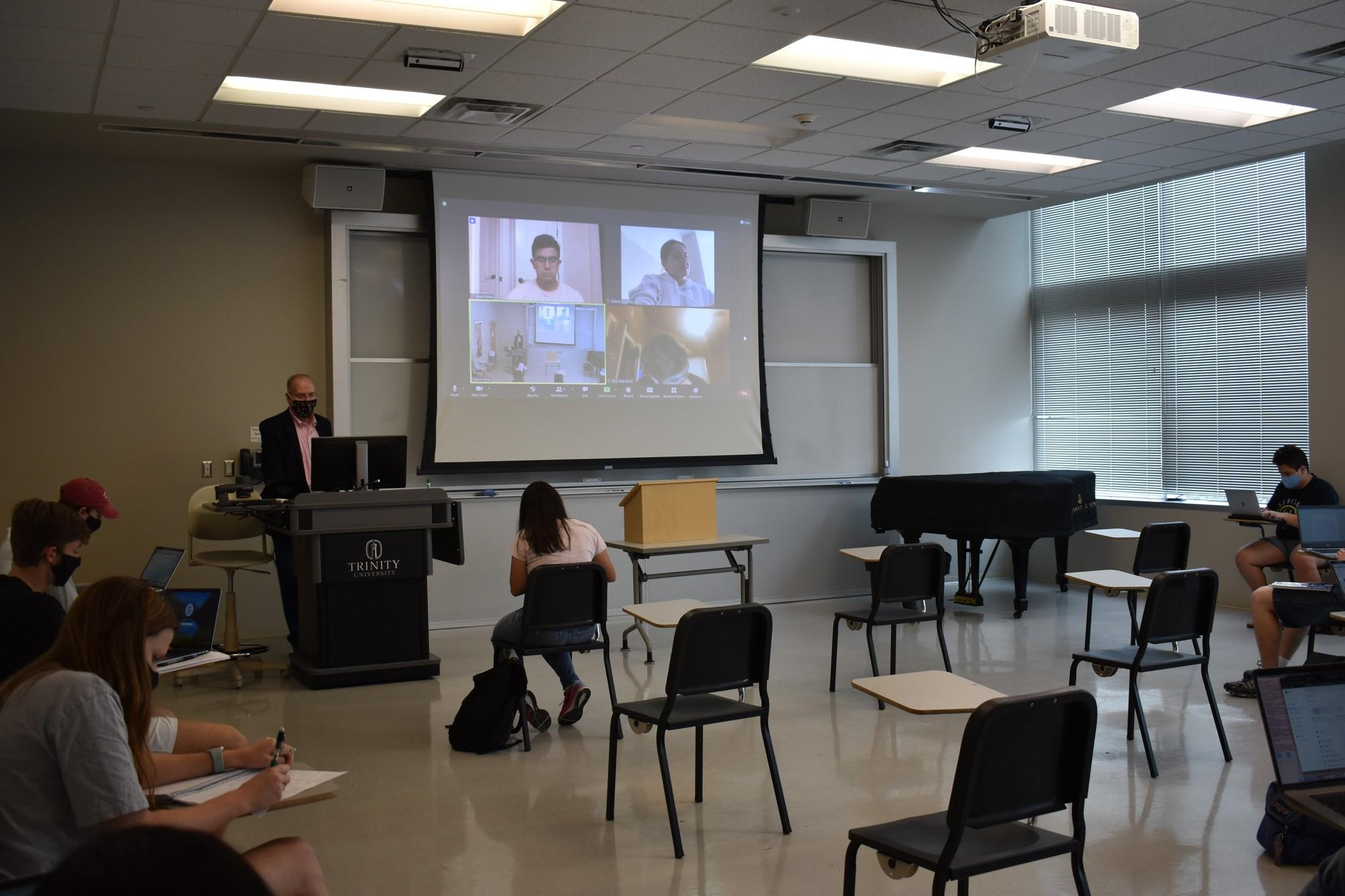 Dr. Heller teaching in a tiger flex style to both in-person and remote students. Remote students: Jesus Rosas, Rafaela Martinez, Tony Rodriguez. In-Person: Camille Abaya, Jacob Bruce, Jack Baker, David Prado and Emma Hagan Photo credit: Claire Sammons