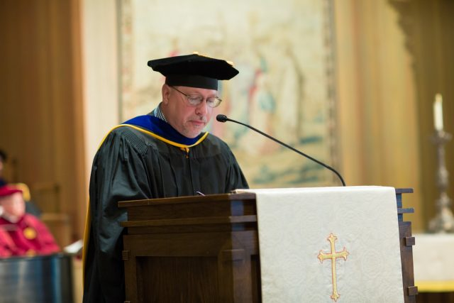 Coltharp at Convocation in 2017, provided by Trinity University