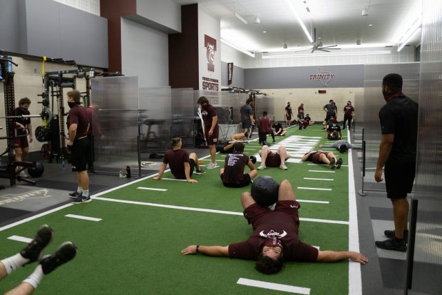 The team cools down after weight training Photo credit: Kate Nuelle
