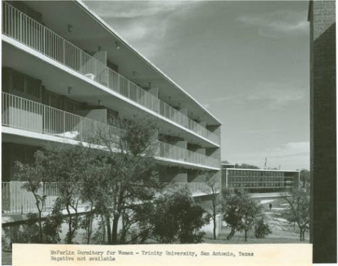 McFarlin Dormitory for Women Exterior View. c. 1955. 98-18-019, Trinity University History, Coates Library Special Collections & Archives, Trinity University, San Antonio, Texas.