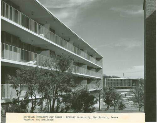 McFarlin Dormitory for Women Exterior View. c. 1955. 98-18-019, Trinity University History, Coates Library Special Collections & Archives, Trinity University, San Antonio, Texas.