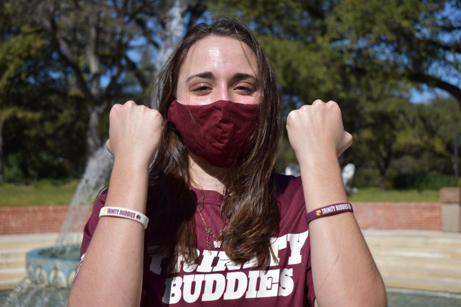 Founder of Trinity Buddies Gina Monaco showing off the new bracelets.