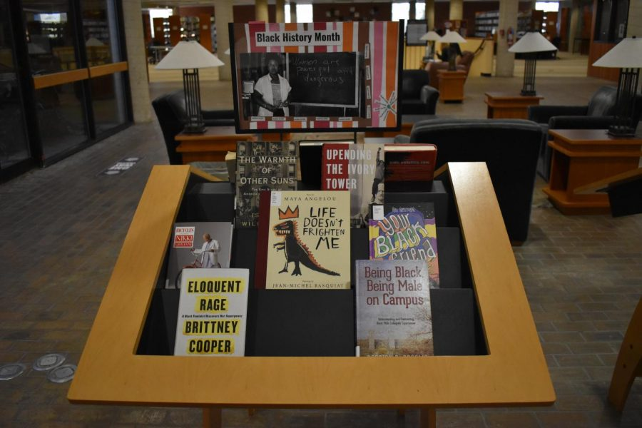 Black History Month set up in the library