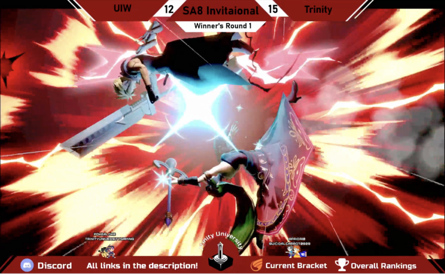 Chad Conway (Cheddar) as Palutena beating a UIW player as Cloud. Screen cap from Trinity University Gaming livestream.