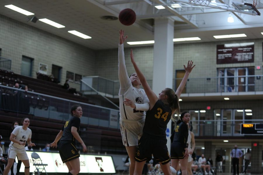 Junior forward Hailey Coleman lays up the ball in a game against Southwestern. Coleman led the Tigers with 19 points in their SCAC Tournament victory over the Pirates.