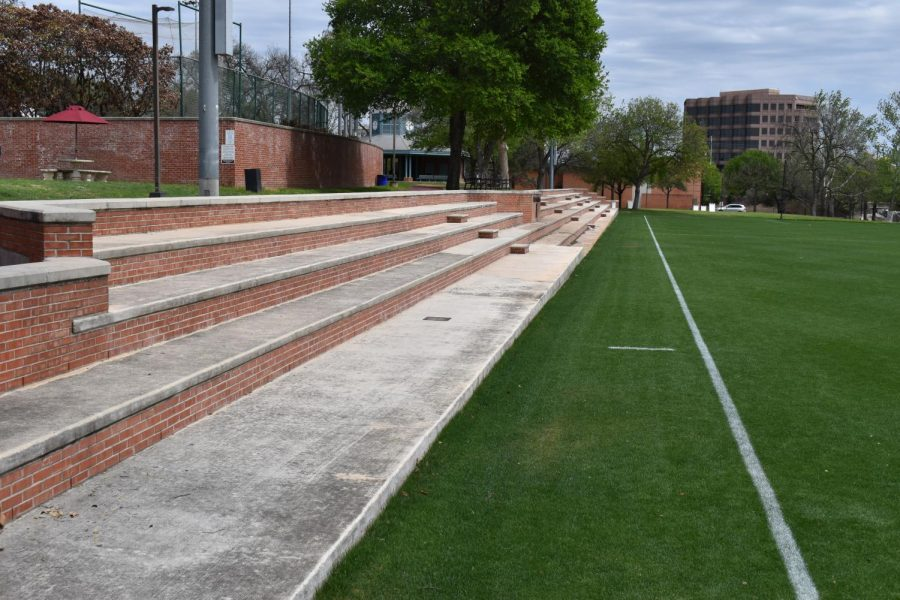 The+stands+at+Paul+McGinlay+Field+will+remain+empty+throughout+the+spring.+Trinity+announced+on+Wednesday+that+no+fans+will+be+allowed+on+campus+at+any+athletic+events+despite+the+SCAC+providing+the+greenlight+to+welcome+fans.+Photo+by+Claire+Sammons.