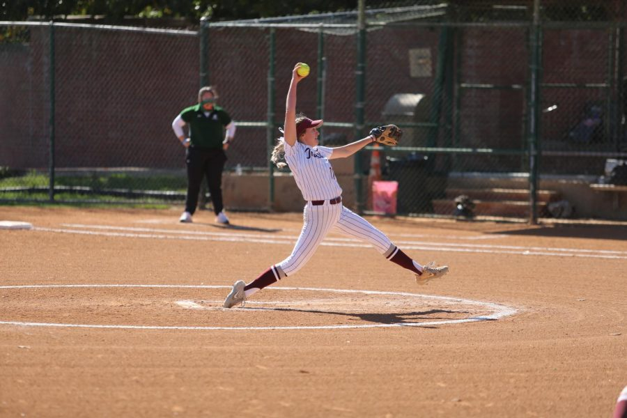Senior pitcher Allie Holbrook delivers a pitch at a Trinity home game. Holbrook has won eight games this year while striking out 48 batters in 62 innings.