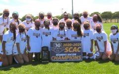 Trinity's women's soccer team poses with the SCAC championship trophy. This was the Tigers' 24th SCAC title. Photo provided by Trinity's Department of Athletics