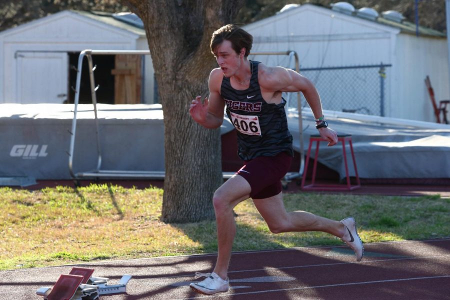 Junior Sean Majors runs the 400-meter dash. Majors ran a personal best time of 48.84 seconds in the event at the University of the Incarnate Word Invitational.