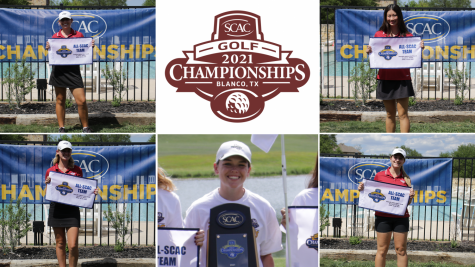 Junior Delaney Kelley, first-years Kiona Hsiu, Erin Flynn and Caterina Mora Adrover and senior Delaney Kelley pose with their All-SCAC banners. The womens golf team won the SCAC Championship for the first time since 2017.