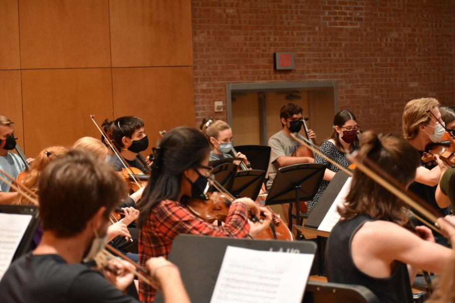 The orchestras string players rehearse inside and within six feet of each other for the first time since the pandemic.