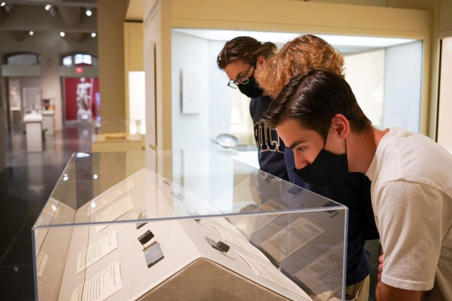 From left to right: Students Tucker Craft, Jack Maxwell, and Logan Martinez view seal display
